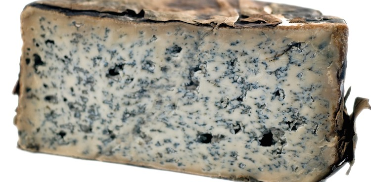 Cabrales cheese filled with blue mold and wrapped in sycamore leaves