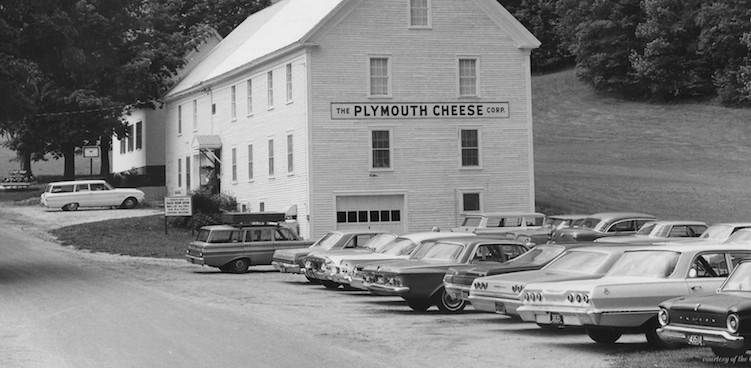 The historic Plymouth Cheese factory in black and white