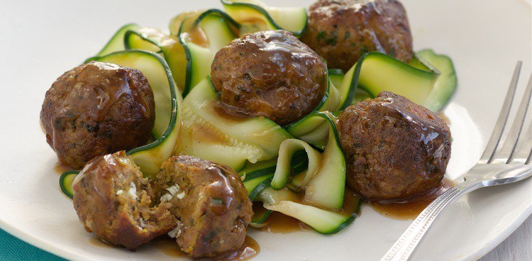Moroccan Feta Meatballs with Ras El Hanout and Zucchini Noodles